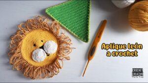 Aplique carita de león a crochet – Patrón GRATIS