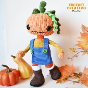 Patrón muñeca amigurumi Greta, la niña calabaza